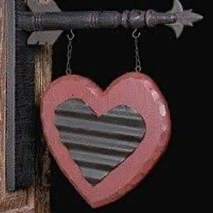Wooden Tin Heart Arrow Hanging Sign